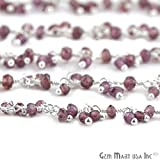 10 Feet Rhodolite Cluster Rosary Chain, 2.5-3mm Silver Plated Wire Wrapped Rosary Chain SPRD-30020