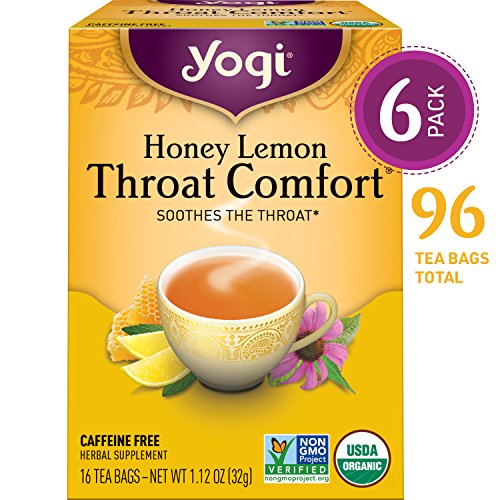 Yogi Tea - Honey Lemon Throat Comfort - Soothes the Throat - 6 Pack, 96 Tea Bags Total