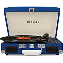 Crosley CR8005D-BL Cruiser Deluxe Portable Record Table 3-Speed Turntable with Bluetooth, Blue