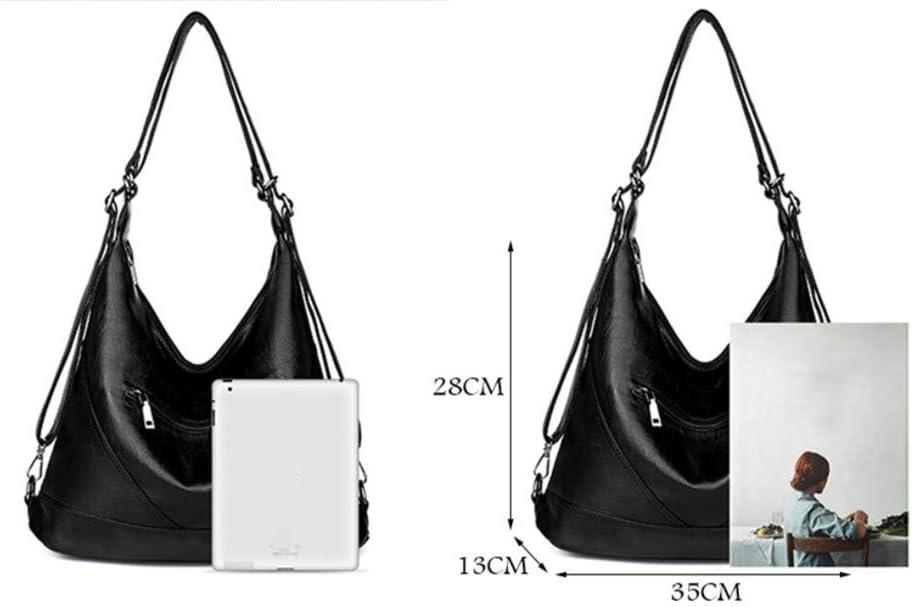Large Pocket Casual Women Luxury Hobos Tote Bag Soft Leather Ladies Shoulder Handbag Red one Size