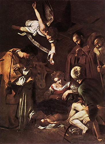 $50-$2000 Hand Painted Art Paintings by College Teachers - Nativity with St Francis and St Lawrence Caravaggio Famous Oil Painting on Canvas for Wall Art Decor -Size 11