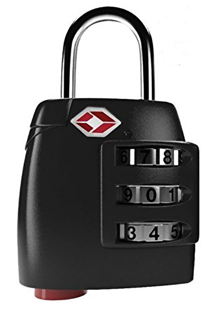 TSA Lock Heavy Duty Quality 3 Digit Combination Luggage Padlock Travel Security Approved (Black)