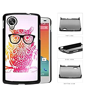 Cute Hipster Colorful Owl with Geometric Triangle Background and Eyeglasses Nexus 5 Hard Snap on Plastic Cell Phone Cover