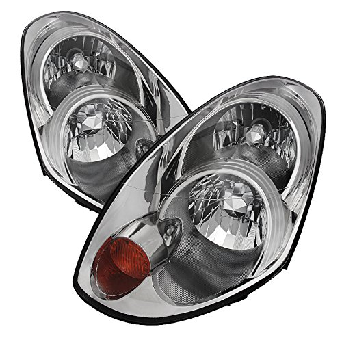 (Jdragon Fit Infiniti 2005-2006 G35 4dr Sedan D2R Xenon Models Chrome Replacement Headlights)