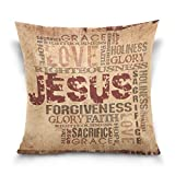 ALAZA Pillow Cases Decorative Religious Words on Grunge Background Cotton Velvet Pillowcase 20x20 Inch Throw Pillows Case Cover Set Double Sided