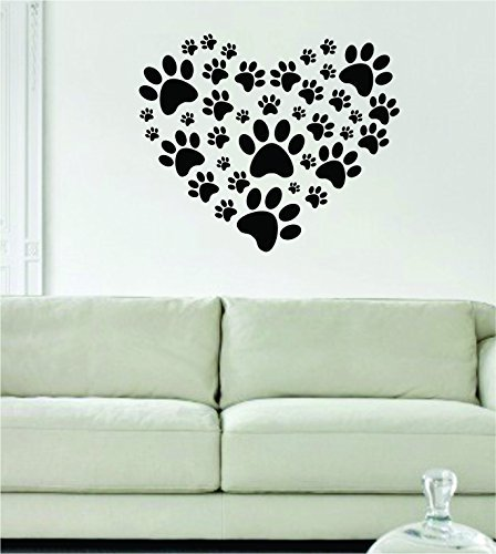 Decal Jewelry Dog Paw Print Heart Art Decal Sticker Wall Vinyl Art Animal Cute Beautiful