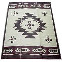 Fireside Patio Mats Navajo Breeze Burgundy and Beige 9-Feet x 12-Feet Polypropylene Indoor/Outdoor Reversible Patio/RV Mat