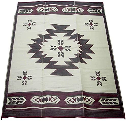 Fireside Patio Mats Navajo Breeze Burgundy And Beige 9 ft. x 12 ft. Polypropylene Indoor Outdoor Reversible Patio RV Mat