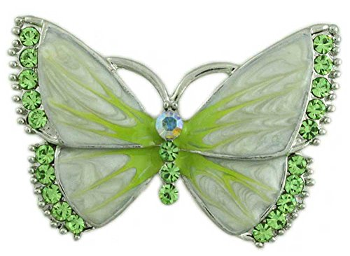 Lilylin Designs Pearlized Cream Enamel and Green Crystal Butterfly Brooch Pin