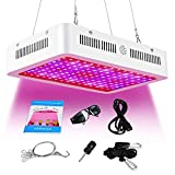 ARKNOAH 300W Full Spectrum LED Grow Light for Hydroponic Indoor Greenhouse Grow Tent Garden Plants Growing in Veg and Flowering Stages (White)