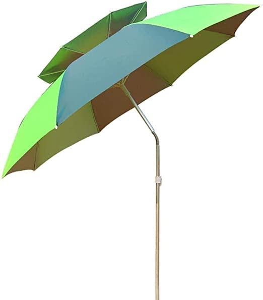 WENYAO Sombrillas de jardín Sombrilla de aleación de Aluminio de Doble Capa de 2 M Sombrilla de Pesca 360 & deg; Rotación, con Cubierta Protectora, Tela de poliéster Impermeable, Doble Superior tra: