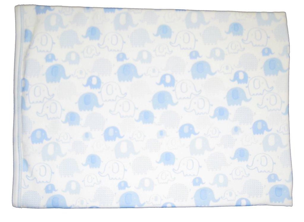 Kissy Kissy Baby-Boys Infant Endearing Elephants Print Receiving Blanket-White With Blue-One Size by Kissy Kissy