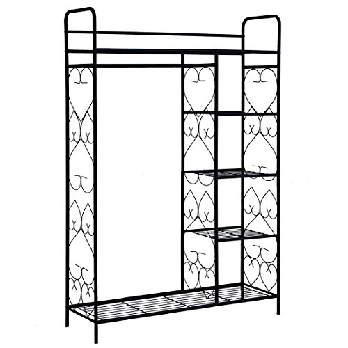 brylanehome-5-tier-metal-closet-with-hanging-rod-black0