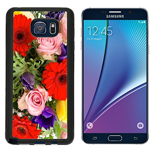 MSD Premium Samsung Galaxy Note 5 Aluminum Backplate Bumper Snap Case IMAGE ID 26379719 closeup of colorful spring flowers bouquet pink roses red gerbera yellow tulips blue - Gerbera Tulip Bouquet