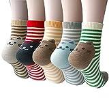 Pack of 5 Women Girls Fun Cats Cartoon Sweet Animal Pattern Cotton Crew Floor Socks, Style 1 One Size