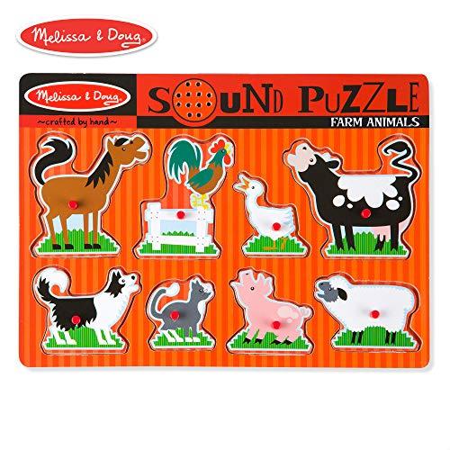 (Melissa & Doug Farm Animals Sound Puzzle - Wooden Peg Puzzle With Sound Effects (8 pcs))