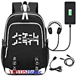 YOYOSHome Luminous Japanese Anime Cosplay Daypack Bookbag Laptop Bag Backpack School Bag with USB Charging Port (No Game No Life)