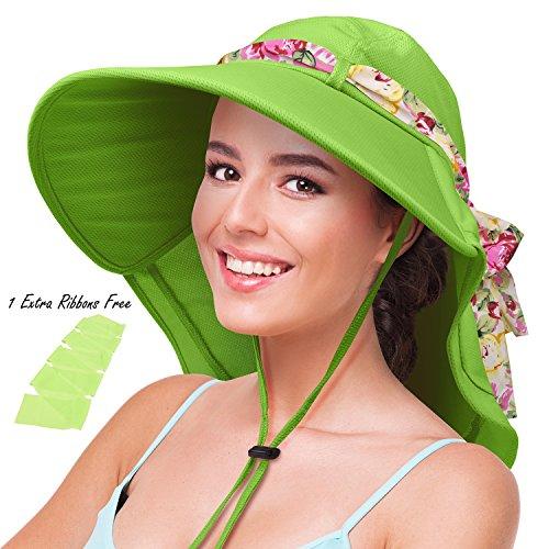 Womens Sun Hats Neck Flap Large Brim UV Protection Foldable Fishing Hiking Beach Cap