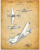 vintage airplane blueprint - Curtiss P-40 Warhawk Fighter Ground-Attack Airplane Patent - 11x14 Unframed Patent Print - Great Gift for World War II (WWII) Pilots