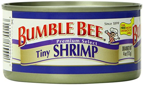 BUMBLE BEE Tiny Shrimp, High Protein Food, Keto Food and Snacks, Gluten Free Food, High Protein Snacks, Bulk Canned Shrimp, 4 Ounce Cans (Pack of 12) ()