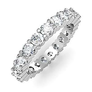 Dazzlingrock Collection 2.10 Carat (ctw) 14K White Gold Round Diamond Ladies Eternity Anniversary Wedding Band (Size 7)
