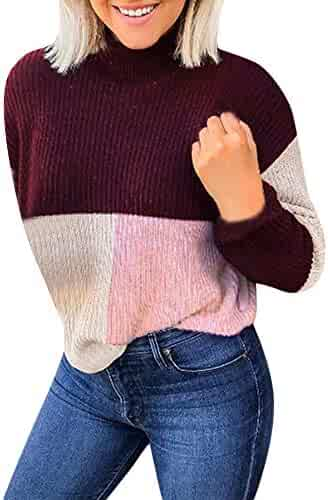 b69dfc7a228 Colorblock Sweater Chaofanjiancai Women Stand Long Sleeve Knitted Jumper  Pullover Casual Top Blouse