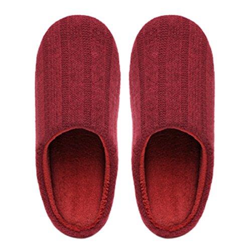 Chicnchic Dames Comfortabele Katoenen Huis Pantoffels Kabel Gebreide Slip Op Indoor Schoenen Rood