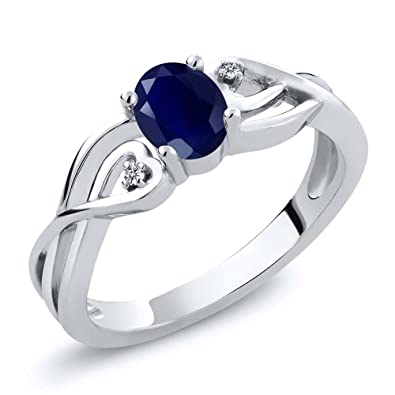 32eb4d3349 Gem Stone King Sterling Silver Oval Blue Sapphire & White Diamond Women's 3- Stone Engagement