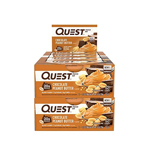 - Quest Nutrition Protein Bar Chocolate Peanut Butter. Low Carb Meal Replacement Bar w/ 20g+ Protein. High Fiber, Soy-Free, Gluten-Free (24 Count)