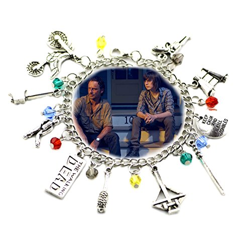 The Walking Dead TV Inspired Jewelry Collection 10 Charms Toggle Clasp Bracelet in Gift Box by Superheroes (Inspired Toggle Bracelet)
