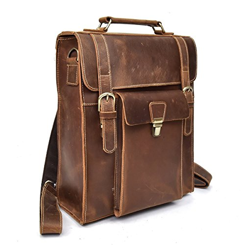Backpack Genuine Leather Men's A4 Multipurpose Carry-On Travel bag Top Grain Cowhide Fit 14