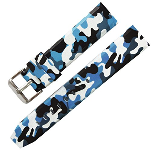 New 20mm 22mm 24mm Rubber Strap Watch Band Blue White Camouflage Military Army Buckle (Blue Camo Fashion Watch)