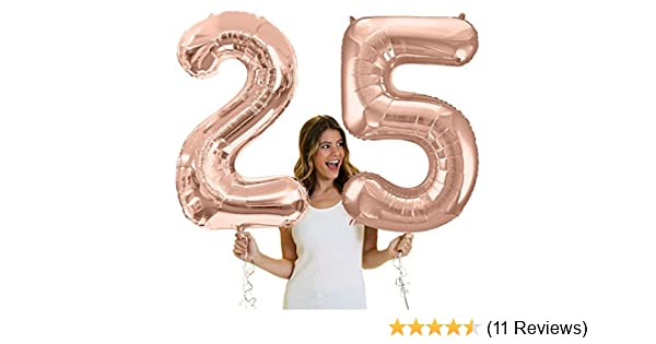Number 25 balln RGD RhinestoneSash 34 Giant Rose Gold 25th Birthday Helium Quality Foil Mylar Balloon Rose Gold Birthday Decorations /& Supplies 25 Rosegold BALLOON0FOIL25