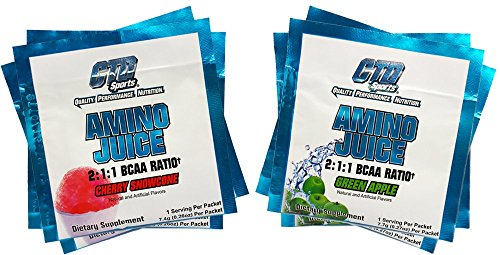 BCAA Powder for Women and Men, Best Amino Acids Supplement for Workout and Recovery, Amino Juice 6 Serving Variety Pack ( 3 Packets Green Apple and 3 Packets Cherry Snowcone Flavor).