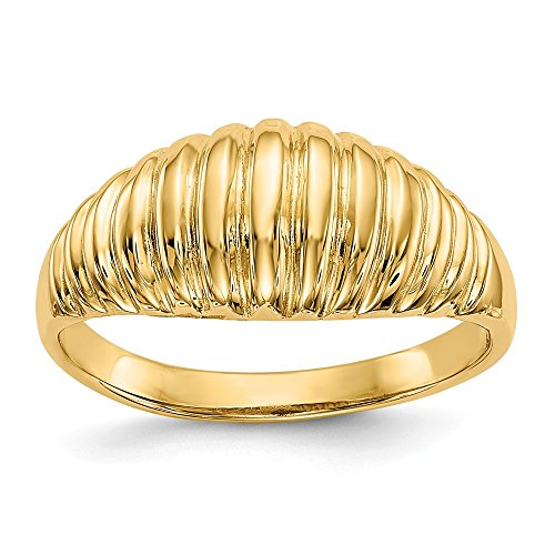 14k Yellow Gold Ribbed Dome Ring Size 7