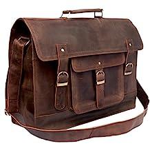 """Feather Feel 18"""" Large Hunter Leather Messenger Bag Business Bag Office Bag Travel Satchel Flight Bag 17.5 Laptop Bag Macbook Bag"""