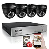 ZOSI 4Channel 720P H.264 CCTV DVR 4 Outdoor/Indoor dome Color 1280TVL Security Surveillance Camera System 1TB HDD Hard Drive Support 3G Mobile Phone view (Black)