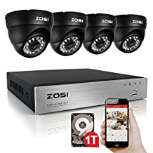 ZOSI 8Channel 720P H.264 CCTV DVR 4 Outdoor/Indoor dome Color 1280TVL Security Surveillance Camera System 1TB HDD Hard Drive Support 3G Mobile Phone view (Black)
