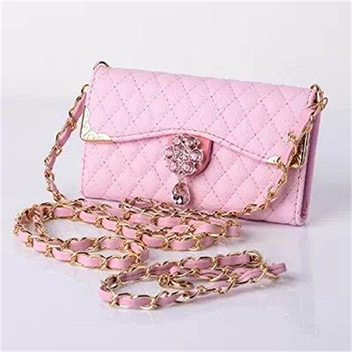 (Case for Iphone 5/5S) Bon Venu Luxury Girl loving fashion bling flower pu leather with Chain handbag cover wallet case For iPhone 5 5s+ Shoulder Chain Luxury case wallet + Free Screen Protector (Pink)