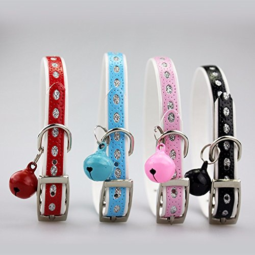 PetsCaptain 4 Pieces (Red, Blue, Pink, Black) Set Cute Crystal Dog Collar Cat Collar with Bell for small Dogs and Cats (0.4