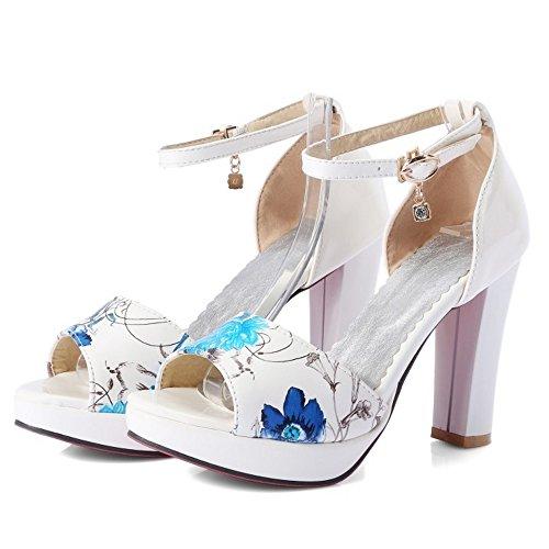 Femmes Talons TAOFFEN Sandales Cheville Plateforme white Bride ARdqd7w