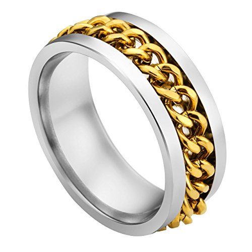 PiercingJ Personalized Custom Promise Ring Stainless Steel Golden Spinner Cuban Spin Link Chain Couples Wedding Engagement Bands 8mm for Men Size us 10.5 + Gift Box