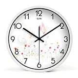 Living Room Metal Wall Clock Modern Design Reloj De Pared Quartz Personalized Colorful Silent Rose Wall Clock,White,12 Inch