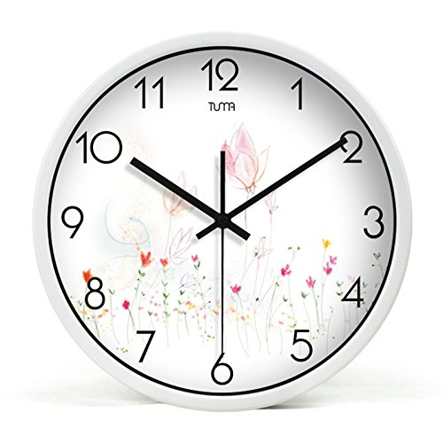 Living Room Metal Wall Clock Modern Design Reloj De Pared Quartz Personalized Colorful Silent Rose Wall Clock,White,12 Inch by Daolin