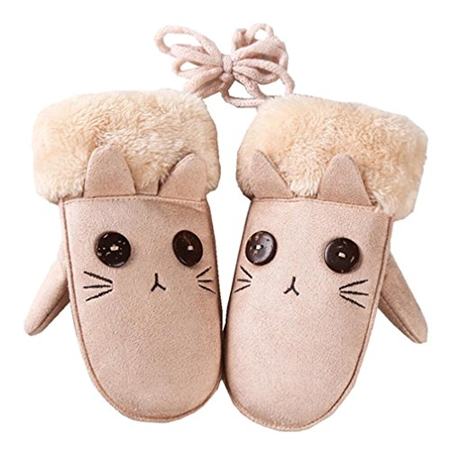 Kids Toddler Baby Boys Girls Winter Warm Mittens Cute Thicken Mittens Gloves with Long String