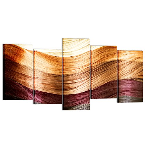 - Kreative Arts Large 5 Piece Canvas Prints Wall Art Hair Colors Palette Modern Pictures Fashion Hairstyle Posters Printed On Canvas Art Work For Barber Shops Walls Decor (Large Size 60x32inch)