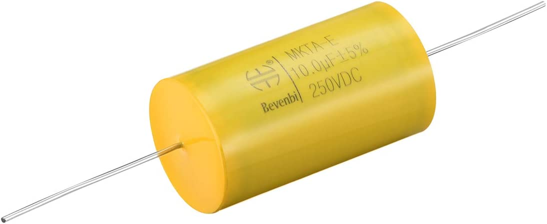 uxcell Film Capacitor 100V DC 15uF Round Axial Polypropylene Film Capacitor for Audio Divider Pack of 3 Yellow