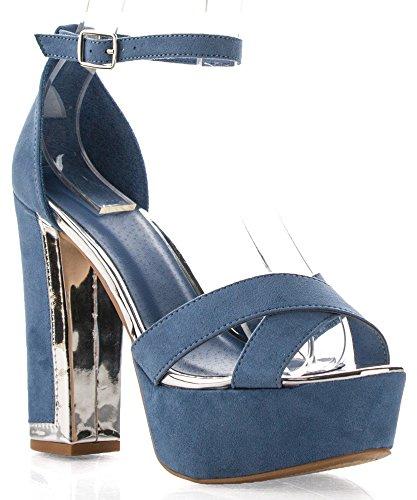 RF ROOM OF FASHION Criss Cross Open Toe Ankle Strap Chunky Platform High Heel Dress Sandals Ocean Blue (Criss Cross Sandal Pump)