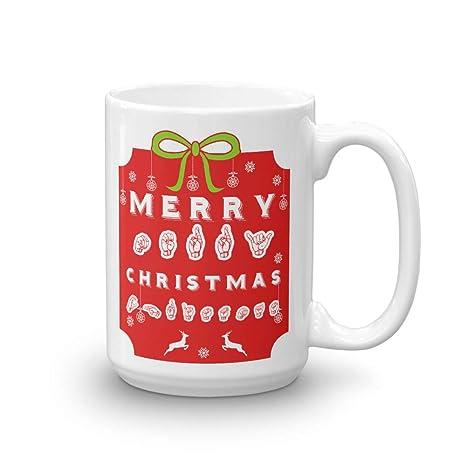 merry christmas asl american sign language coffee mug deaf gift