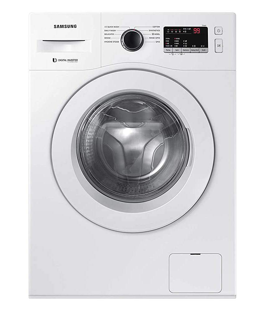 Samsung 6.5 Kg Inverter 5 Star Fully Automatic Front Loading Washing Machine  WW65R20GLSW/TL, White, Hygiene Steam  Washing Machines   Dryers